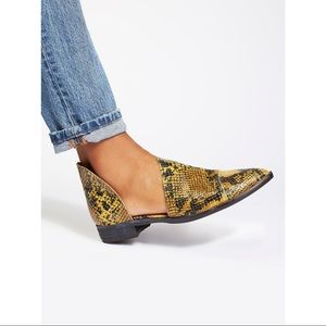 Free People Royale Leather d'Orsay Flats Snake